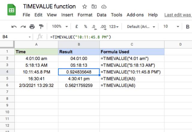 google sheets timevalue 2