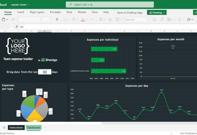 Expense Tracker Template Excel dashboard 1