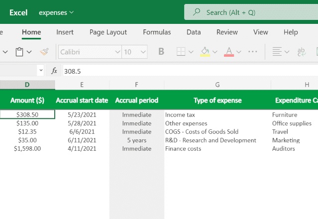 Income Statement Template Excel expenses revised