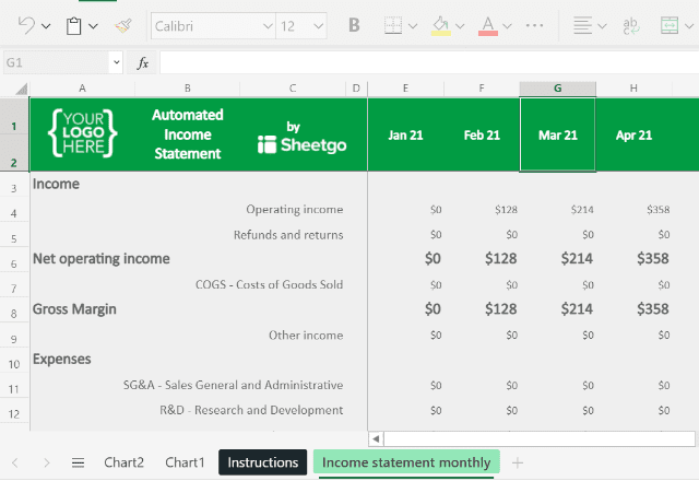 Income Statement Template Excel Income statement monthly 2