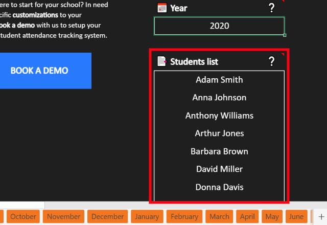 Attendance Management Template Excel list