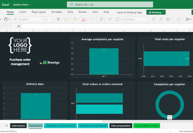 Purchase Order Template Excel Dashboard 2