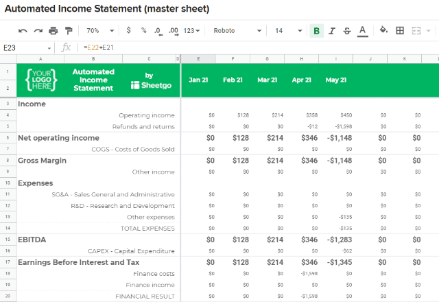 Top 5 Free Google Sheets Finance Templates Income Statement 2