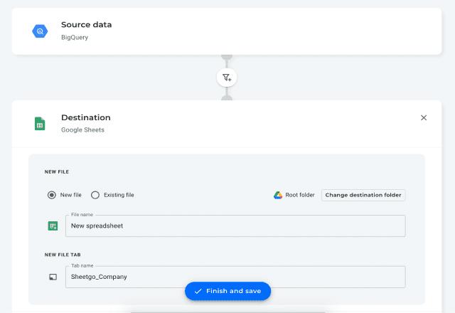 BigQuery to Google Sheets 4 send data