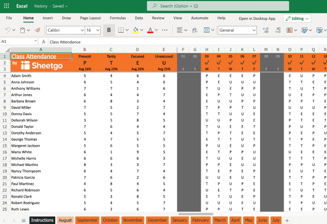 Attendance template Excel - roll August