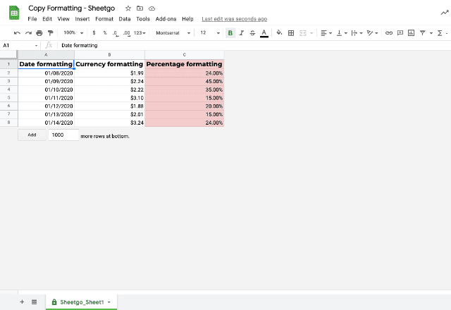 copy formatting google sheets