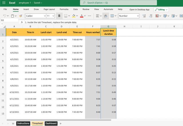 Employee timesheet template Excel - individual timesheet