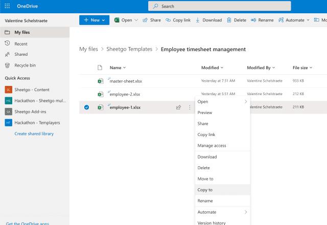 Employee timesheet template Excel make a copy