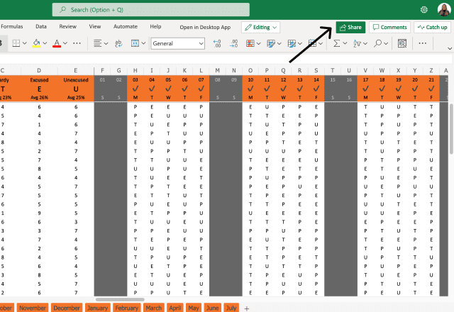 Attendance template Excel Share