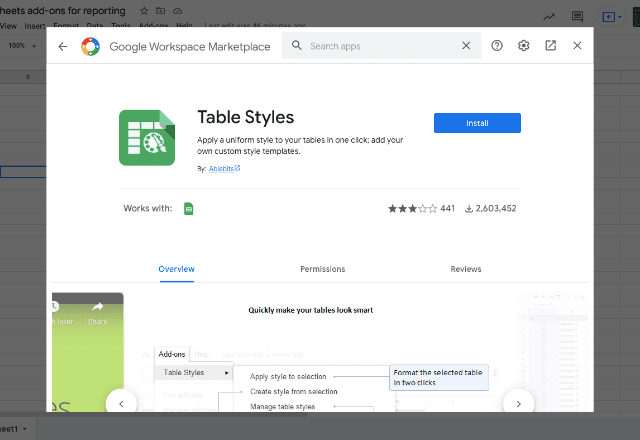 add-ons for reporting 6 Table Styles