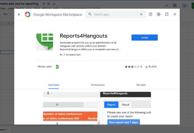 add-ons for reporting 8 Reports4Hangouts
