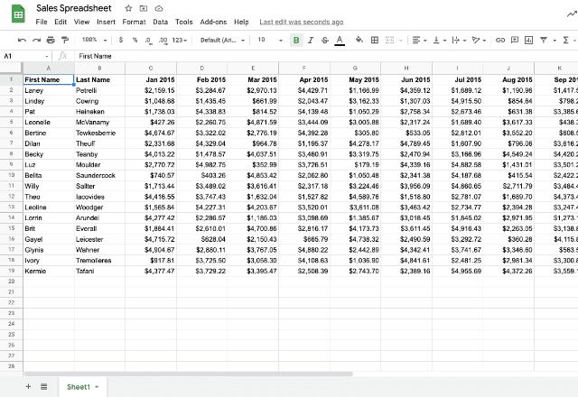 Google Sheets edit history