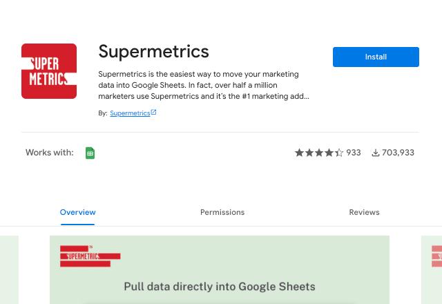 Supermetrics add-on 1