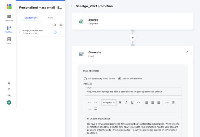 mass email software 1 Sheetgo