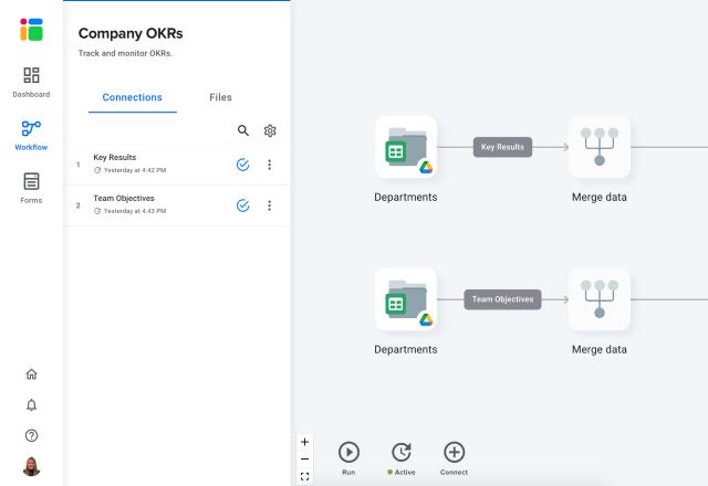 OKR template in Google Sheets open screen
