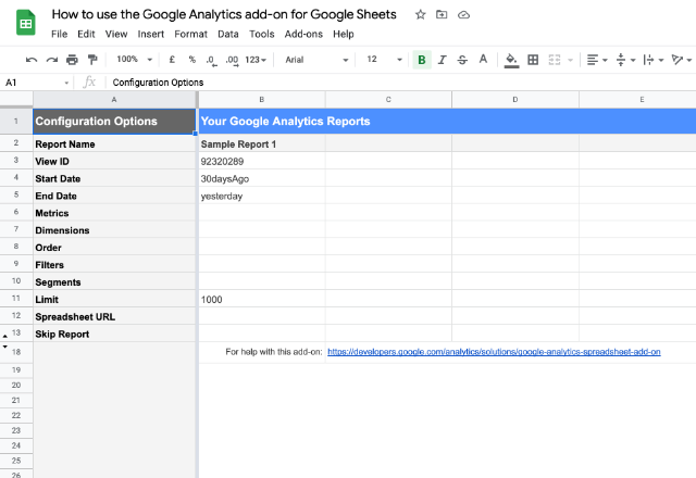 connect Google Analytics to Google Sheets 4